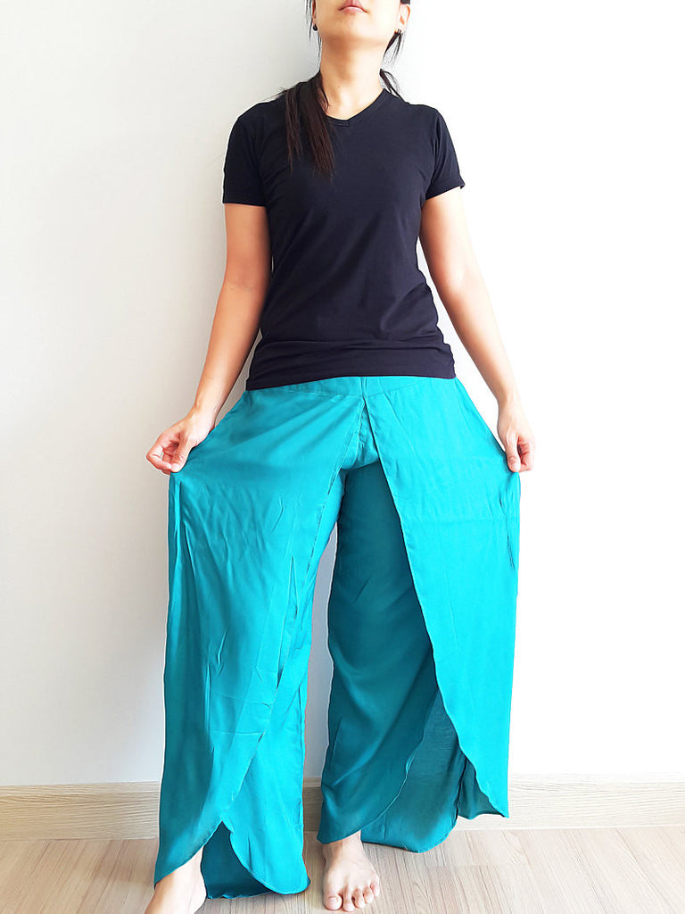 SO21 Women Pants Maxi Trouser Rayon Trouser Comfy Trouser Open Leg Wide Leg Plain Color Solid Color Teal Green