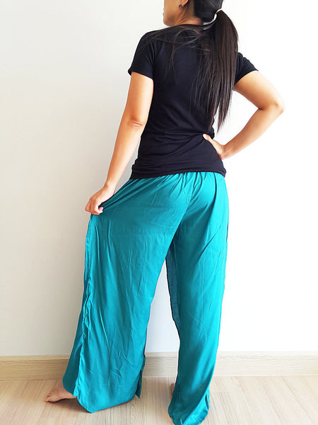 SO21 Pants Maxi Trouser Rayon Open Leg Wide Leg Plain Color Solid Color Teal Green, NaughtyGirl, HaremPantsThai