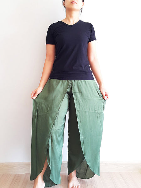 SO15 Women Pants Maxi Trouser Rayon Trouser Comfy Trouser Open Leg Wide Leg Plain Color Solid Color Olive Green