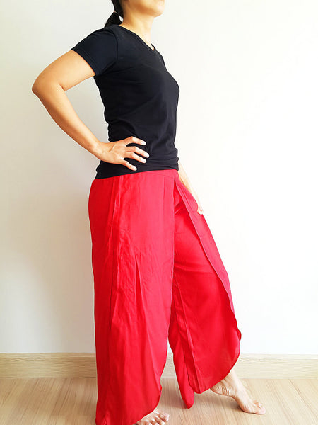 SO9 Pants Maxi Trouser Rayon Open Leg Wide Leg Plain Color Solid Color Red, NaughtyGirl, HaremPantsThai