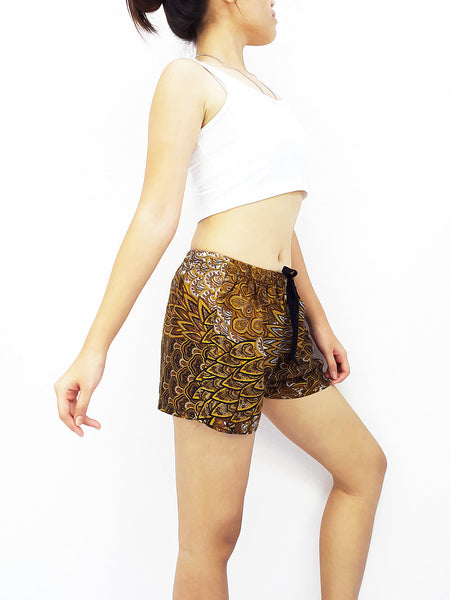Women Rayon Pants Mini Shorts Bohemian Hippie Beach Clothing Peacock Brown (S7)