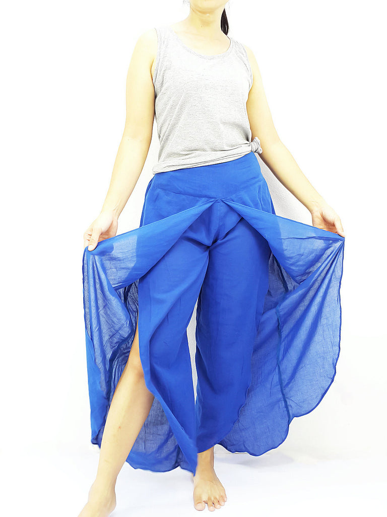 SOS6 Thai Women Clothing Comfy Rayon Bohemian Trousers Hippie Baggy Genie Boho Pants Open Leg Wide Leg Dark Blue