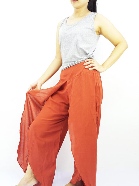 SOS47 Rayon Bohemian Trousers Hippie Boho Pants Open Leg Wide Leg Burnt Orange, NaughtyGirl, HaremPantsThai