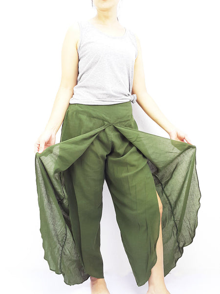 SOS15 Thai Women Clothing Comfy Rayon Bohemian Trousers Hippie Baggy Genie Boho Pants Open Leg Wide Leg Green Olive