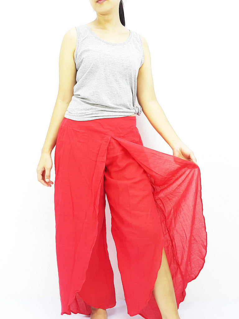 SOS9 Thai Women Clothing Comfy Rayon Bohemian Trousers Hippie Baggy Genie Boho Pants Open Leg Wide Leg Red