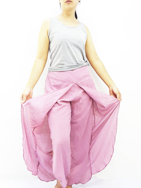 SOS23 Thai Women Clothing Comfy Rayon Bohemian Trousers Hippie Baggy Genie Boho Pants Open Leg Wide Leg Pink