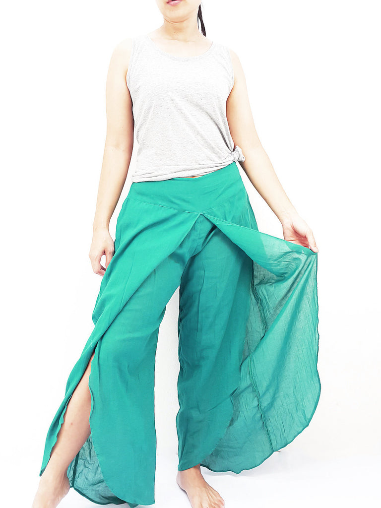 SOS21 Thai Women Clothing Comfy Rayon Bohemian Trousers Hippie Baggy Genie Boho Pants Open Leg Wide Leg Green Teal