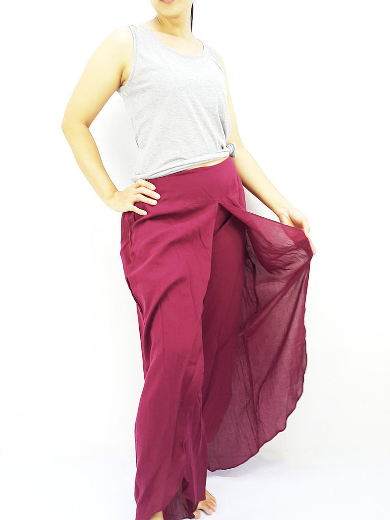 SOS2 Thai Women Clothing Comfy Rayon Bohemian Trousers Hippie Baggy Genie Boho Pants Open Leg Wide Leg Dark Red
