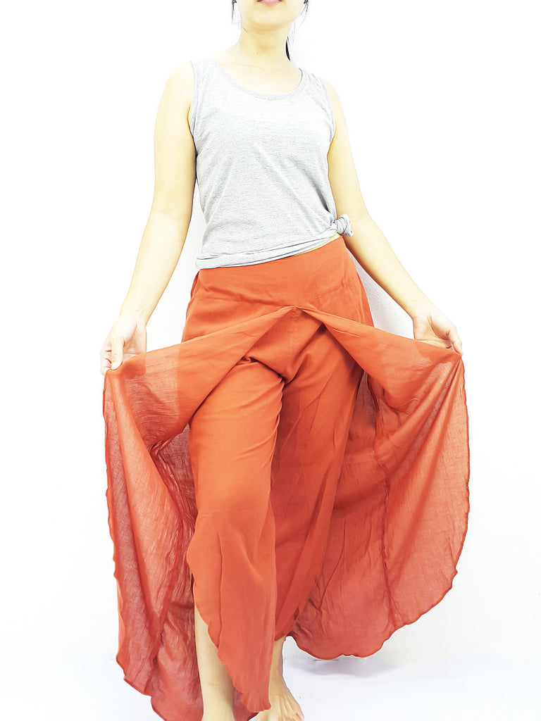 SOS47 Thai Women Clothing Comfy Rayon Bohemian Trousers Hippie Baggy Genie Boho Pants Open Leg Wide Leg Burnt Orange