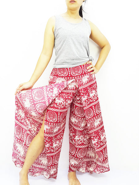 SOP7 Women Pants Maxi Trouser Rayon Trouser Comfy Trouser Open Leg Wide Leg Elephant Red