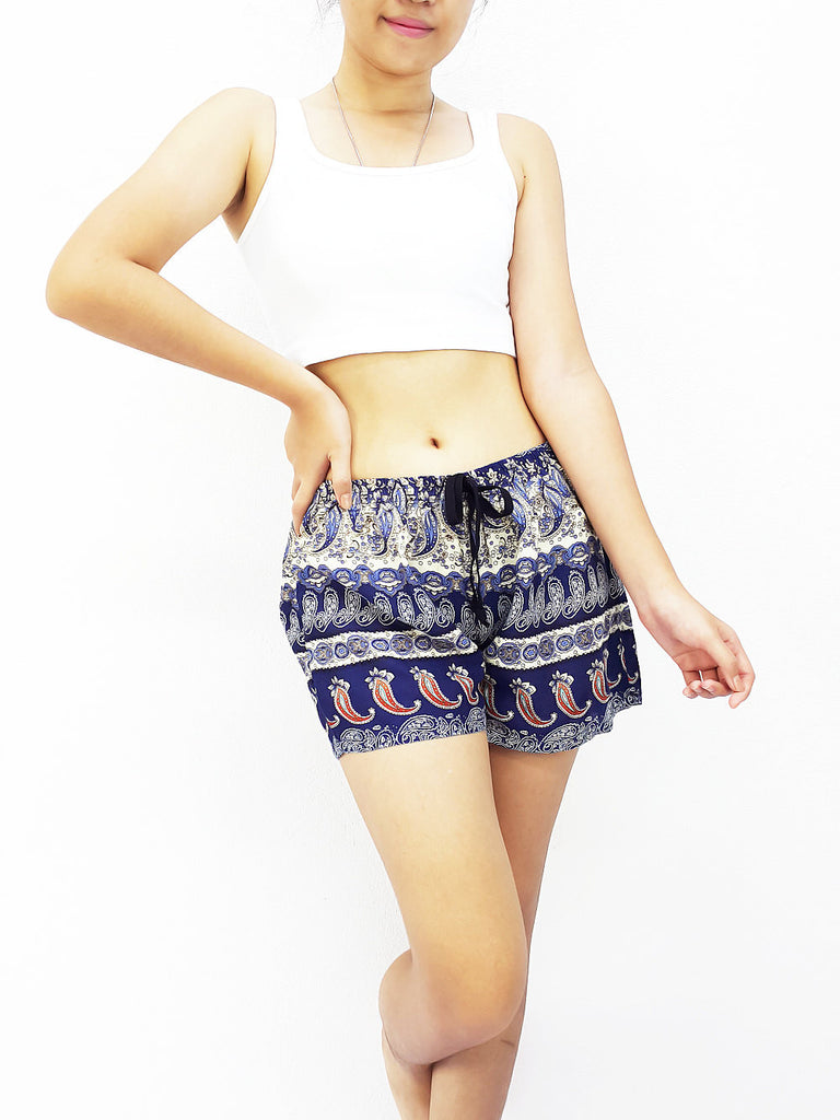Women Rayon Pants Mini Shorts Bohemian Hippie Beach Clothing Paisley Blue (S36)