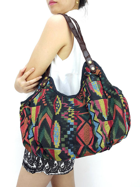 Woven Bag Tote bag Cotton Bag Hippie bag Hobo bag Boho bag Shoulder bag Handbags Black, VeradaShop, HaremPantsThai