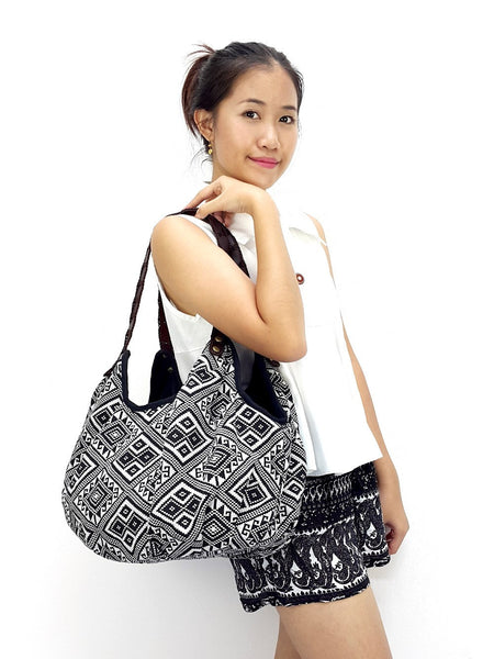 Woven Bag Tote bag Cotton Bag Hippie Hobo Boho bag Shoulder bag Handbags Black & White, VeradaShop, HaremPantsThai