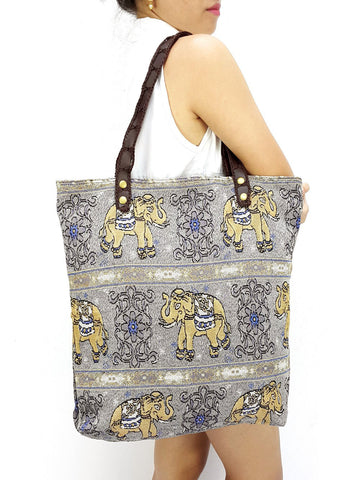 Woman bag Woven Cotton Tote bag Elephant Bag Hippie bag Hobo Boho bag Shoulder bag Market Shopping bag Everyday bag Handbag Light Grey