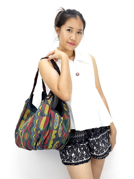 Woven Bag Tote bag Cotton Bag Hippie bag Hobo bag Boho bag Shoulder bag Handbags Grey, VeradaShop, HaremPantsThai