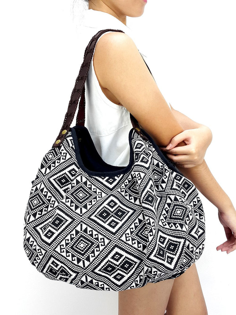Woman bag Woven Bag Purse Tote bag Cotton Bag Hippie Hobo Boho bag Shoulder bag Market bag Shopping bag Handbags Black & White