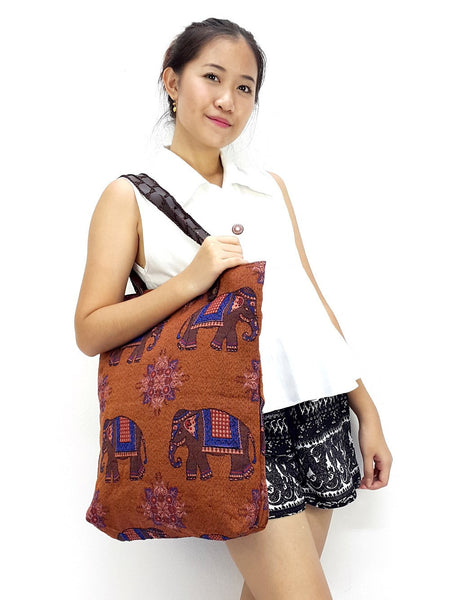 Woman bag Woven Cotton bag Elephant bag Hobo Boho bag Shoulder Bag Market Shopping bag Brown, VeradaShop, HaremPantsThai