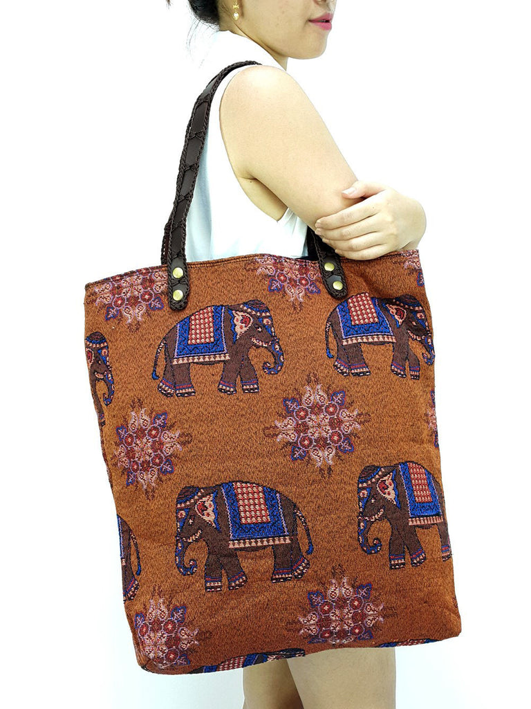 Woman bag Woven Cotton Tote bag Elephant Bag Hippie bag Hobo Boho bag Shoulder bag Market Shopping bag Everyday bag Handbags Brown