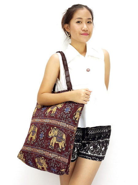 Woman bag Woven Cotton bag Elephant bag Hobo Boho bag Shoulder Bag Market Shopping bag Maroon, VeradaShop, HaremPantsThai