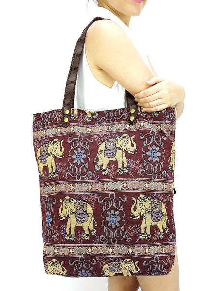 Woman bag Woven Cotton Tote bag Elephant Bag Hippie bag Hobo Boho bag Shoulder bag Market Shopping bag Everyday bag Handbags Maroon