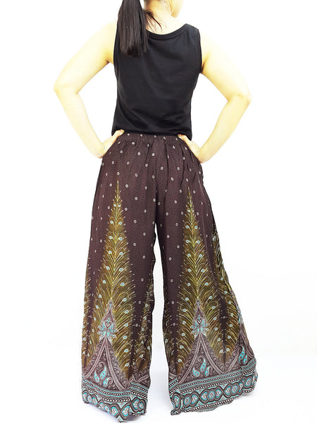 SOP19 Pants Maxi Trouser Rayon Open Leg Wide Leg Feather Brown, NaughtyGirl, HaremPantsThai