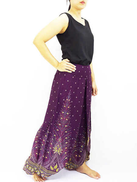 SOP21 Pants Maxi Trouser Rayon Open Leg Wide Leg Feather Violet Purple, NaughtyGirl, HaremPantsThai