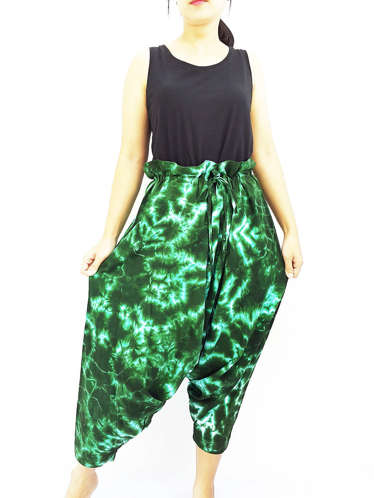 PTHC1 Handmade Harem Pants Cotton Boho Pants Green