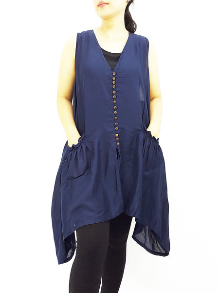 PRB14 Women Rayon Blouses Wraps Cloaks Tanks Tops Colorful Naby Blue, Pants, NaughtyGirl, HaremPantsThai