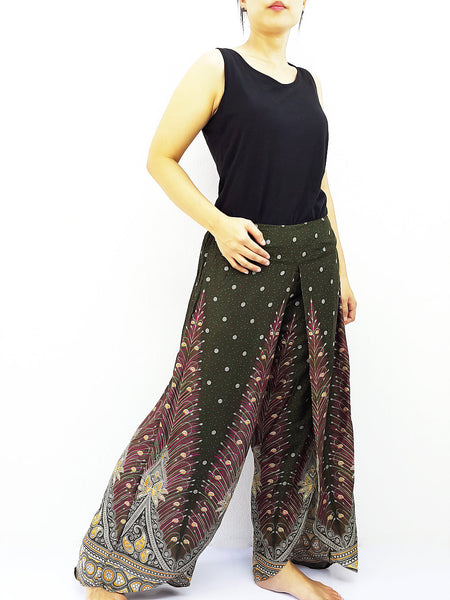SOP18 Pants Maxi Trouser Rayon Open Leg Wide Leg Feather Green, NaughtyGirl, HaremPantsThai