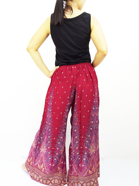 SOP20 Pants Maxi Trouser Rayon Open Leg Wide Leg Feather Red, NaughtyGirl, HaremPantsThai