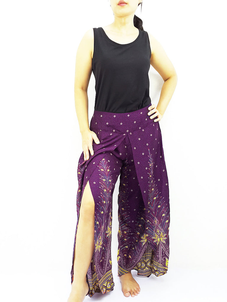 SOP21 Women Pants Maxi Trouser Rayon Trouser Comfy Trouser Open Leg Wide Leg Feather Violet Purple