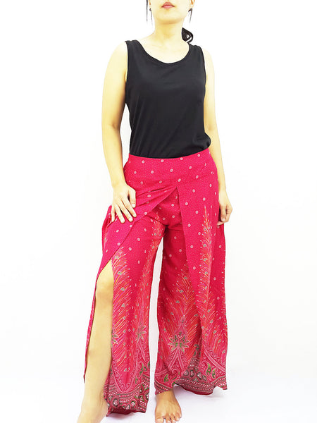 SOP22 Women Pants Maxi Trouser Rayon Trouser Comfy Trouser Open Leg Wide Leg Feather Hot Pink