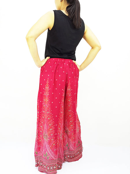 SOP22 Pants Maxi Trouser Rayon Open Leg Wide Leg Feather Hot Pink, NaughtyGirl, HaremPantsThai
