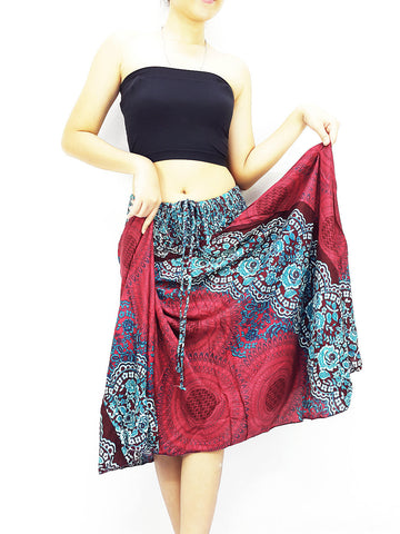 Thai Women Clothing Natural Cotton Convertible Dresses Skirts Red (DS55)