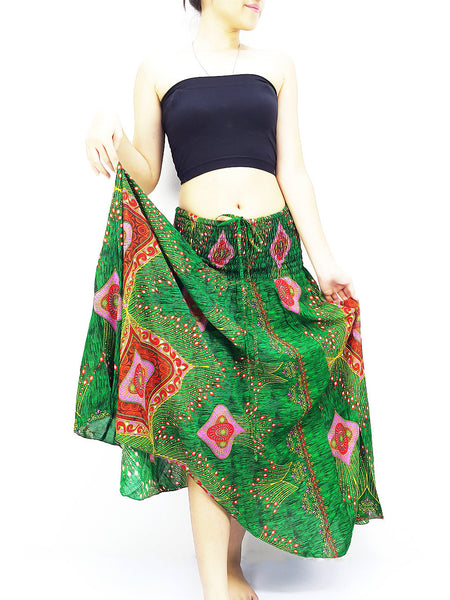 Thai Women Clothing Natural Cotton Convertible Dresses Skirts Green (DS52)