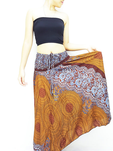 Thai Women Clothing Natural Cotton Convertible Dresses Skirts Brown (DS57)