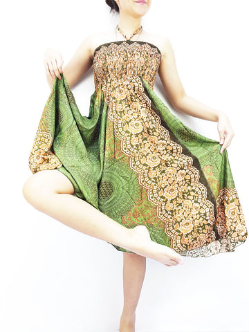 Thai Women Clothing Natural Cotton Convertible Dresses Skirts Green (DS59)