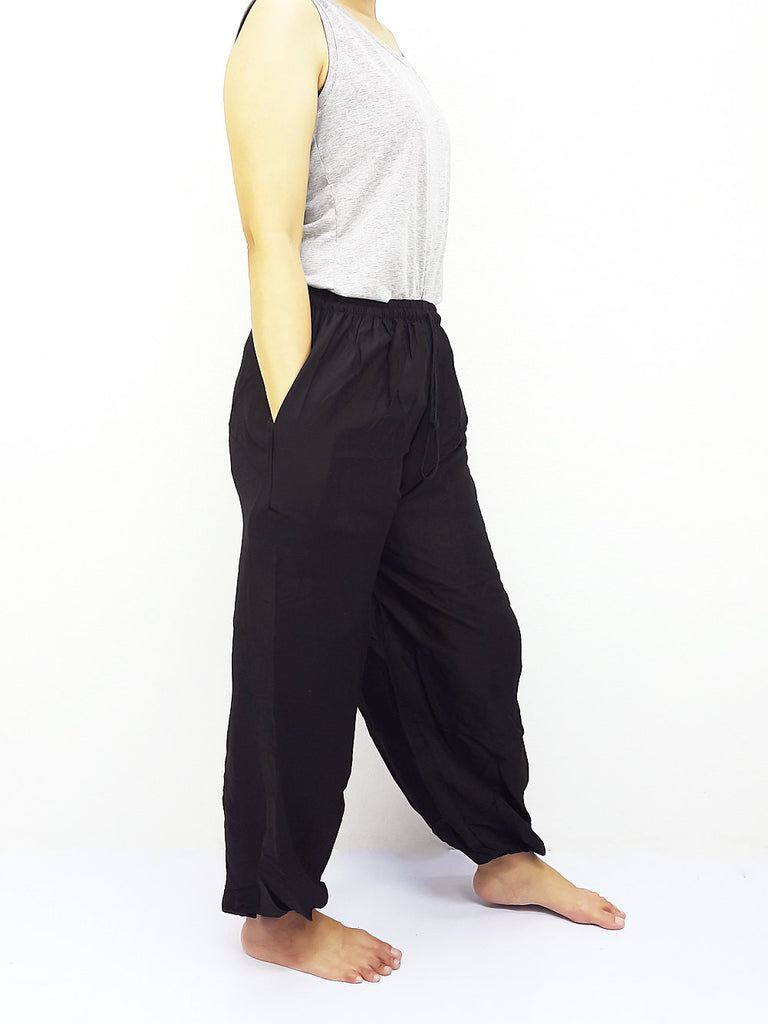 PRT9-1 Thai Women Clothing Comfy Rayon Bohemian Trousers Hippie Baggy Genie Boho Pants Black
