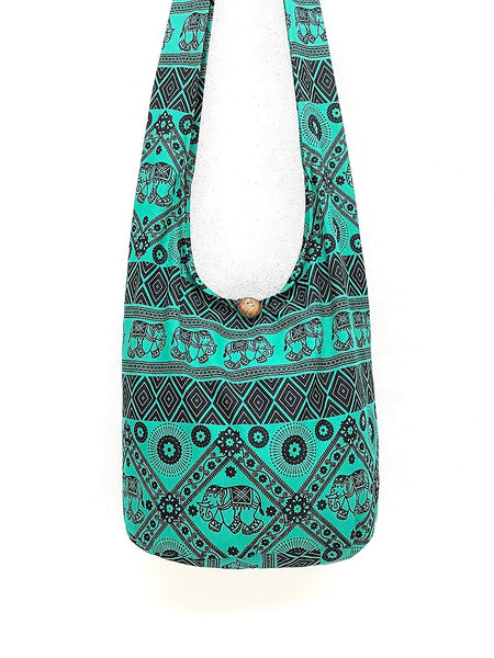 Cotton Handbags Elephant bag Hippie Hobo Boho bag Shoulder bag Sling bag Tote bag Crossbody Bag Green, VeradaShop, HaremPantsThai
