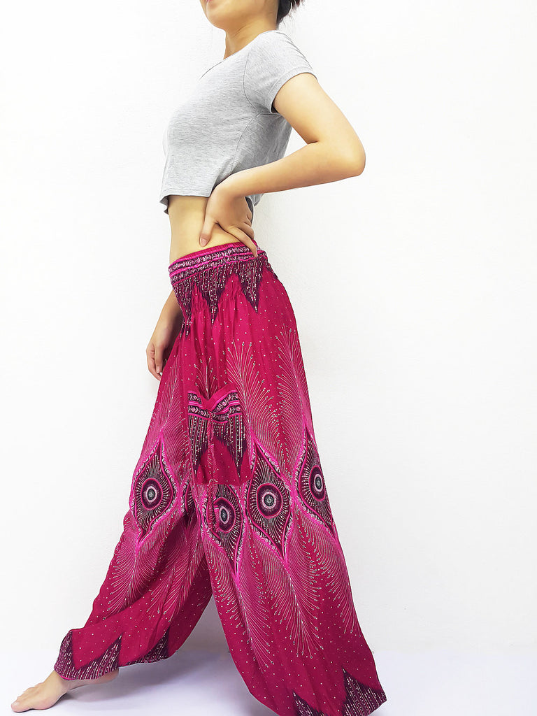 Handmade Harem Trousers Rayon Bohemian Trousers Hippie Boho Pants Hot Pink (TS154)