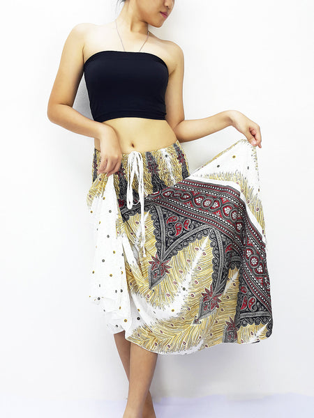 Thai Women Clothing Natural Cotton Convertible Dresses Skirts White (DS64)