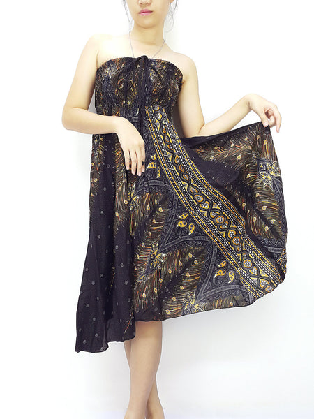 Thai Women Clothing Natural Cotton Convertible Dresses Skirts Black (DS65)