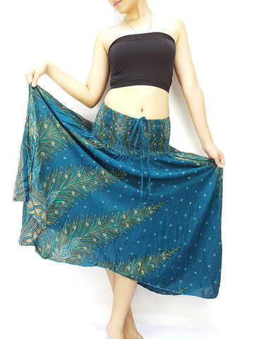 Thai Women Clothing Natural Cotton Convertible Dresses Skirts Green Teal (DS66)