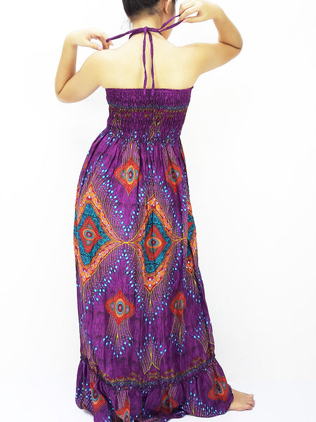 Rayon Maxi Dress Hobo Hippie Boho Bohemain Hippie Gypsy Style Purple Violet (DL33), NaughtyGirl, HaremPantsThai