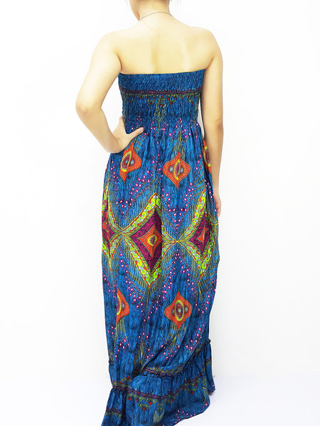 Rayon Maxi Dress Hobo Hippie Boho Bohemain Hippie Gypsy Style Blue (DL34), NaughtyGirl, HaremPantsThai