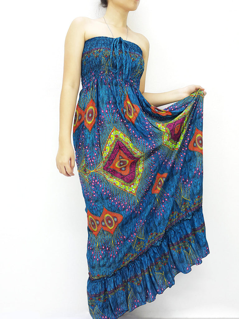 Thai Women Clothing Rayon Maxi Dress Hobo Hippie Boho Bohemain Hippie Gypsy Style Printed Blue (DL34)