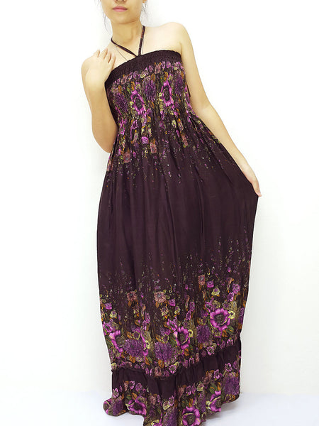 Rayon Maxi Dress Hobo Hippie Boho Bohemain Hippie Gypsy Style Dark Puple (DL37), NaughtyGirl, HaremPantsThai