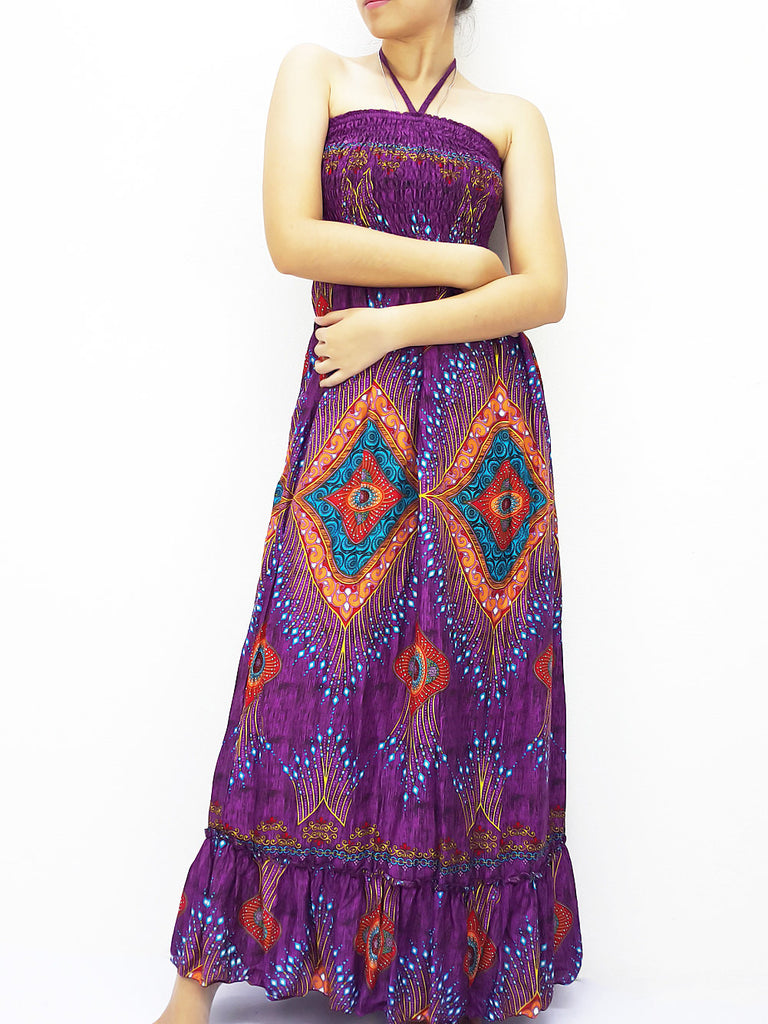 Thai Women Clothing Rayon Maxi Dress Hobo Hippie Boho Bohemain Hippie Gypsy Style Printed Purple Violet (DL33)