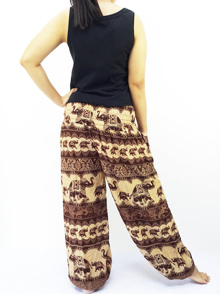 PRT27 Thai Women Clothing Comfy Rayon Bohemian Trousers Hippie Baggy Genie Boho Pants Elephant Brown, Pants, NaughtyGirl, HaremPantsThai