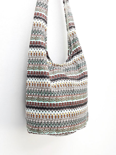 Women Canvas Bag Shoulder bag Sling bag Hobo bag Boho bag Tote bag Crossbody bag Printed Canvas Zig Zag Handbags, VeradaShop, HaremPantsThai